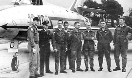 Escadron de Chasse 01.012 Cambresis was one of the 3 units to participate at the very first Tiger Meet in 1961. Here the team is leaded by Captain Lerche who was the EC 01.012 squadron commander.